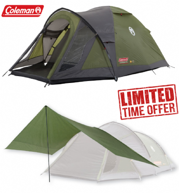 Coleman Camping Tent Package Deal - Darwin 3 Plus Tent with Coleman Tarp